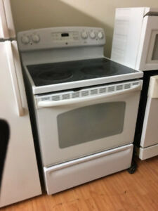 "GE white 30"" electric glass top stove range self clean oven"