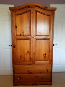 $720 OBO Solid Pine Double Bed set with Armoire