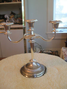 FANCY FORMAL VINTAGE SILVER-PLATED TRIPLE BRANCHED CANDLABRUM