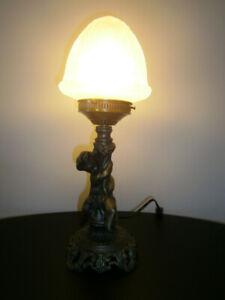 LAMPE D'APPOINT CHÉRUBIN EN MÉTAL BRONZE (15-1/2'')