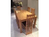 Creations Oak dining table & six chairs