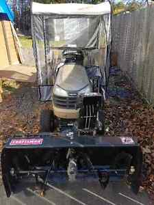 Tractor/Snowblower with pusher blade