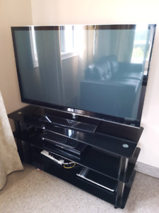 Television set 50inch LG TV, TV stand and DVD player
