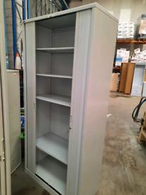 Roneo grey metal tambour storage cupboard 4 shelves - with keys