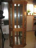 Real oak corner display cabinet with two lights