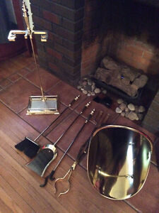 Brass Fireplace/Stove Tool Set with Stand & Wood Holder/Carrier Belleville Belleville Area image 2