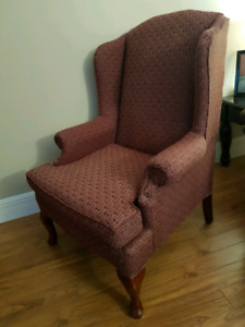 High back arm chair wing back