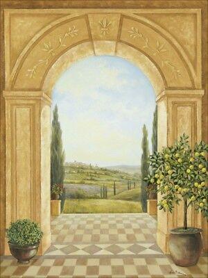 Fenster Poster (Poster oder Leinwand Bild A. Heins Landschaften Fensterblick Malerei Ocker A8VL)
