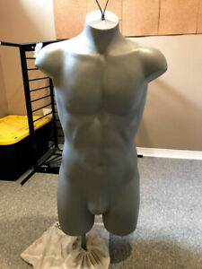 Male mannequin with height adjustable and metal stand