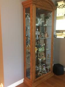 Oak curio cabinet