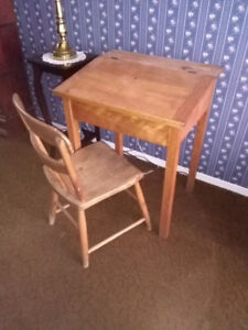 Childs wooden antique school desk and chair