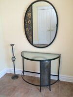 Metal mirror, console and standing candle holder