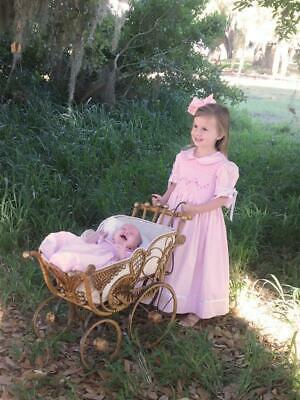 Baby Girls Hand Smocked Pink Easter Heirloom Dress with White Sating Ribbons - Heirloom Easter Dresses