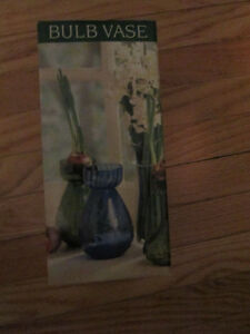 VINTAGE BULB VASE BY TWO'S COMPANY HAND BLOWN GLASS GREEN