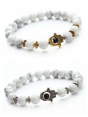 Turquoise Silver Mens Bracelets - Man's Gold Silver Hamsa Hand White Turquoise Stone Beads Women Lucky Bracelet