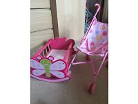 Baby doll cot and buggy