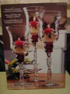 Holiday Glass Candle Holders