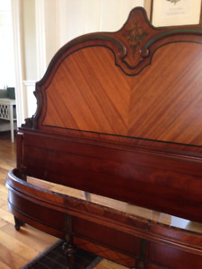 Beautiful Antique Double Bed, Headboard, beautiful curved footbo