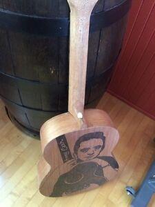 Guitare decoration Johnny Cash pyrogravure Québec City Québec image 4