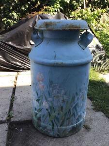 Metal milk can, Qew and Winston Churchill 416-949-3086