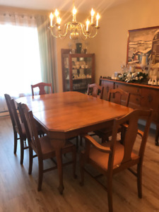 Antique Dining Set. Table, 8 chairs, China Cabinet, Buffet