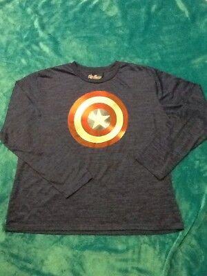 Avengers 2 Captain America Costume (Marvel AVENGERS HALLOWEEN COSTUME Captain America Blue Long Sleeve Shirt SIZE)