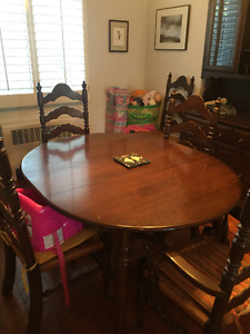 Cherry Wood table, six chairs and hutch