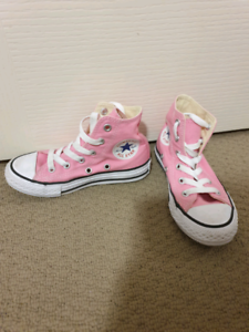 Girls pink converse high tops us size 11
