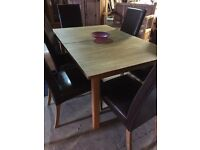 Solid pine extending table with 6 chairs