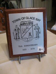 VINTAGE WALL PLAQUE  THE TOWN of GLACE BAY 75th ANNIVERSARY