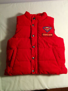 Red Puffy Superman Vest, 2T, Gap, Boys