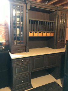 Wood Storage Hutch with Corian Counter Top