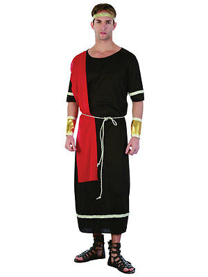 Mens Greek Grecian Caesar Roman God Toga Black Fancy Dress Costume Outfit New (Caesar Outfit)