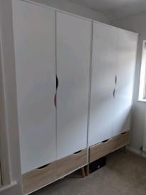 Wardrobe 2 Doors 2 Drawers in White and Oak