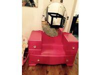 Pink solid wood Dressing vanity Table