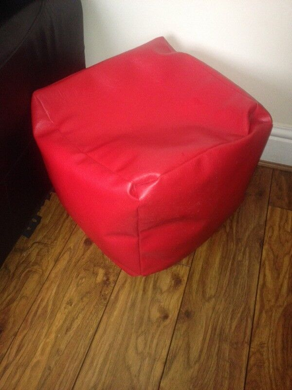 Red Leather Bean Bag Pouffe