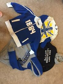 Boys Leicester city jumper t shirt bundle 3/4 and 2/3yrs