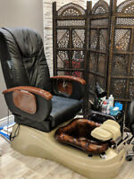 Pedicure spa, pipeless system w/ a massage chair and glass bowl