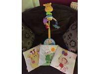 Fisher Price mobile and 3 piece soft wall art set