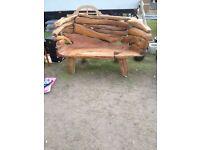 Teak root garden bench