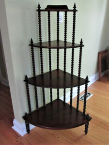 Antique Mahogany Spindle What Not Corner Stand Shelf  4 tier