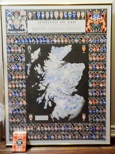 1991 Giant SCOTLAND OF OLD Clan Map +Scottish Clans TARTANS BOOK
