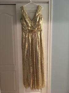 Beautiful Dress Long Gold Sequence