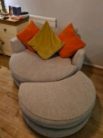 DFS Sophia Cuddler Swivel Chair and Half Moon Footstool