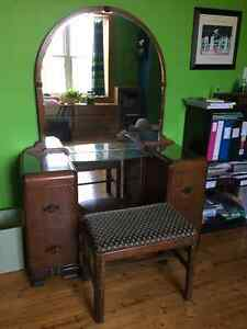 Antique dressing table and bench