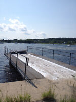 Floating Dock with Small Storage Building on Brasd'Or Lakes