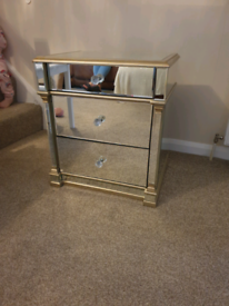 3 drawer mirrored bedside for sale