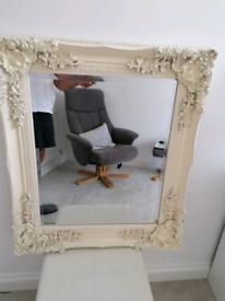 Cream vintage distressed look mirror