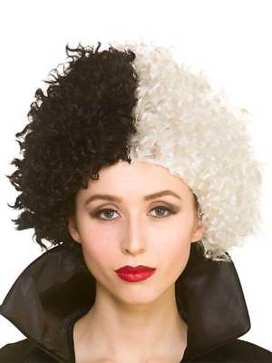 Ladies Cruel Lady Evil Madam Short Black White Halloween Fancy Dress Afro Wig