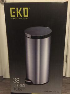 New – EKO 38 liters Artistic Stainless Steel Step Waste Bin